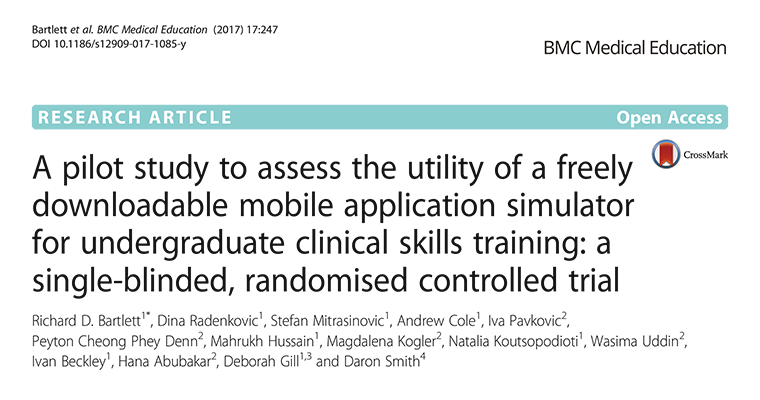 Validation of a freely downloadable virtual reality mobile phone simulator for undergraduate clinical skills training: a single-blinded, experience-controlled randomised controlled trial