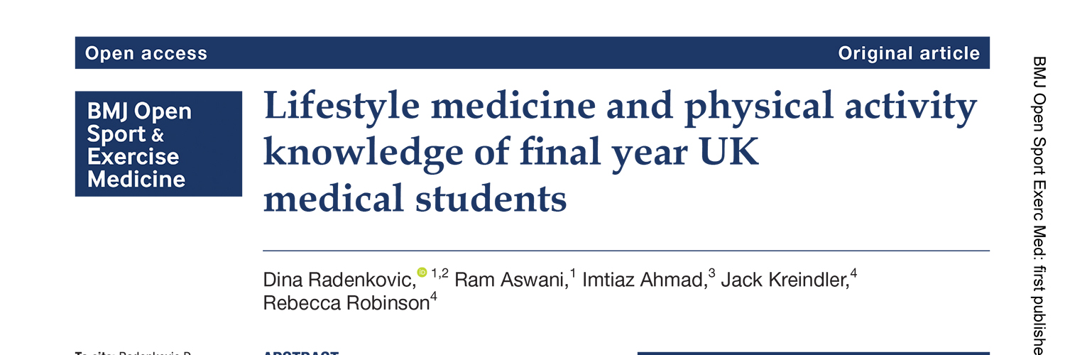 Lifestyle medicine and physical activity knowledge of final year UK medical students