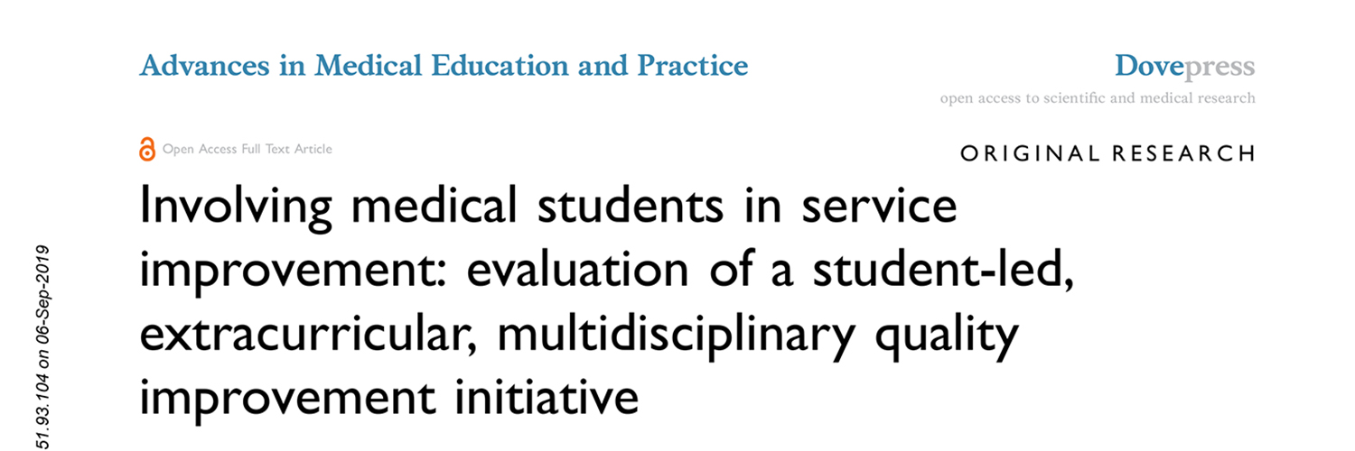 Involving medical students in service improvement: evaluation of a student-led, extracurricular, multidisciplinary quality improvement initiative