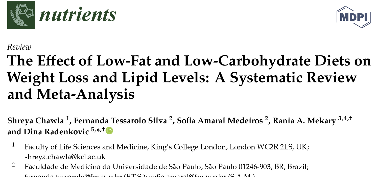 The Effect of Low-Fat and Low-Carbohydrate Diets on Weight Loss and Lipid Levels: A Systematic Review and Meta-Analysis