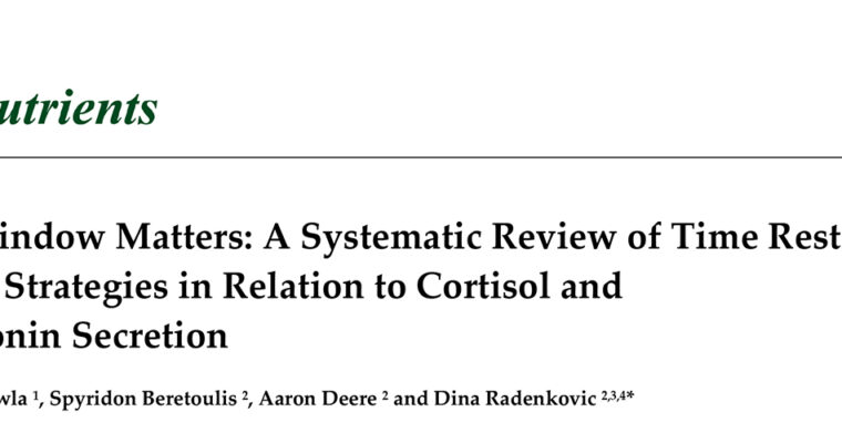 The Window Matters: A Systematic Review of Time Restricted Eating Strategies in Relation to Cortisol and Melatonin Secretion